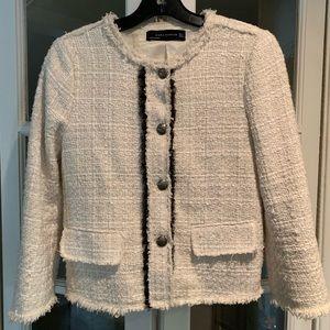 Zara white tweed jacket/blazer. Size small